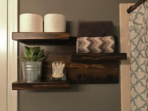 Dark Walnut Rustic Bathroom Shelving Storage With Hooks Towel Etsy