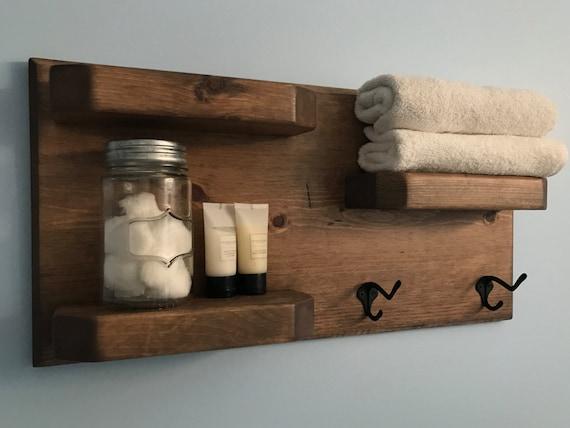 Weathered Oak Rustic Bathroom Shelves With Towel Hooks Etsy