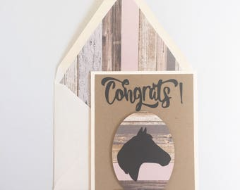 Horse Silhouette Card, custom, handmade to order, personalized