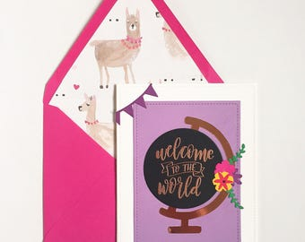 Welcome to the World baby card, custom, handmade to order, personalized