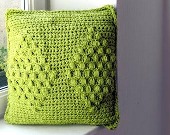 Handmade hand hook knit cushion/Throw Pillow/Pillow included/45x45/Pillow for girls/Pillow for babies/Kid Pillow/Decorative wool Pillow