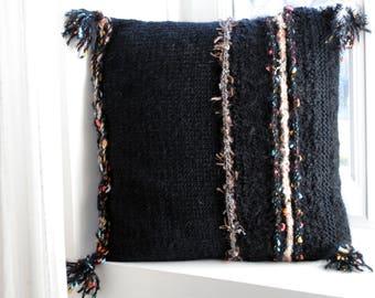 Handmade knit cushion/Pillow included/Throw Pillow/40x40cm/Decorative wool Pillow