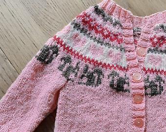 baby cardigan hand made knitting yarn BB merino / alpaca