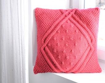 Handmade Pink knit cushion/Throw Pillow/Pillow included/45x45cm/Pillow for girls/Pillow for babies/Kid Pillow/Decorative wool Pillow