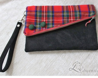 Clutch, wrist bag, leather, Upcycling
