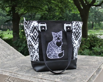 Shopper Fox, shoulder bag, imitation leather, leather, embroidery