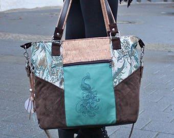 Leather bag, peacock, Cork, upcycling