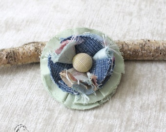 Fabric flower, jeans, cotton fabric, viscose, upcycling