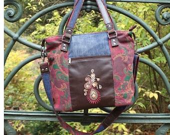 Shoulder bag, shoulder bag, Upcycling, leather, jeans, upholstery fabric