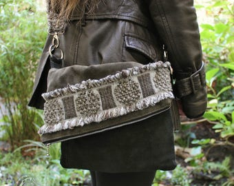 Leather Messenger bag, Sling bag, 1970s style Upcycling,