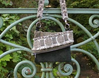 Leather Messenger Bag, Sling Bag, 1970s Style, Upcycled