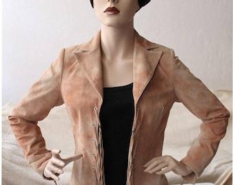Vintage suede blazer, leather jacket, retro design