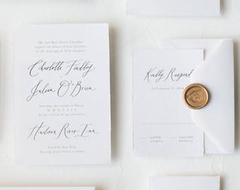 "Handmade Paper Calligraphy Invitation Suite / ""Ophelia"" Suite"