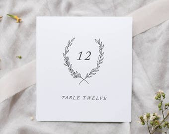 Botanical Crest Table Numbers / Organic Wedding Table Number Cards