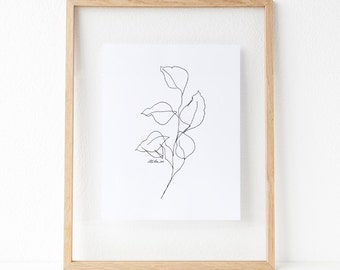 Contour Line Drawing Rose : Botanical line drawing new version signed step by etsy