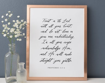 """Proverbs 3:5-6 Trust in the Lord with all your heart // 8x10"""" Calligraphy Print"""