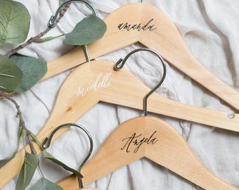 Personalized Wooden Hangers Calligraphy // Bridesmaid Hangers