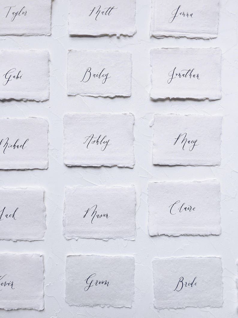 Handmade Paper Place Cards  Organic Calligraphy Escort Cards