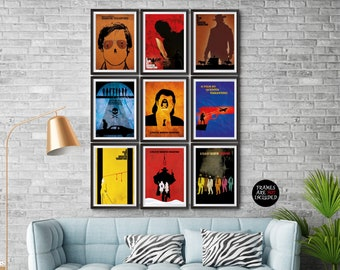 Quentin Tarantino Movies 9 Minimalist Poster Set with the last movie Once Upon a Time in Hollywood Tarantino's all movie Posters