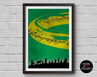 The Lord of the Rings Minimalist Poster Fellowship of the Ring Alternative Movie Print J.R.R. Tolkien Home Decor Cinema Poster Wall Artwork