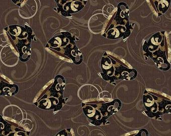 Brown patchwork, café au lait Whindam Fabrics fabric
