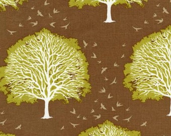 Brown patchwork fabric and lime modernmeadow, Joel DEWBERRY JD-38