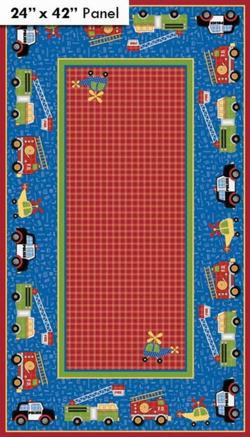 3eadcd2157986d Panel fabric kids blue and red fire RESCUE 911 Northcott