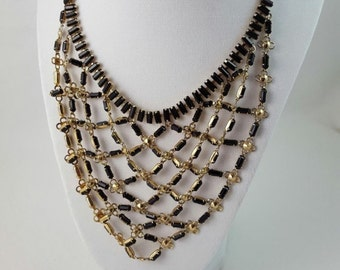 Vintage Black Faceted Baguette Stone Rosette Bib Necklace