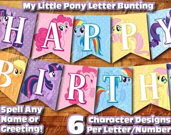 printable my little pony birthday decoration my little pony banner decor instant digital download birthday bunting banner feliz cumpleaos