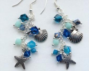 Beach Cluster Earrings, Ocean Theme Earrings, Beach Wedding Earrings, Starfish Earrings, Chandelier Earrings, Cascade Earrings, Swarovski