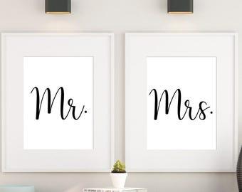 Printable Mr & Mrs, Mr and Mrs poster, Mr and Mrs signage, Mr and Mrs sign, Mr and Mrs art print, Mr and Mrs bedroom art print, 8X10 11X14