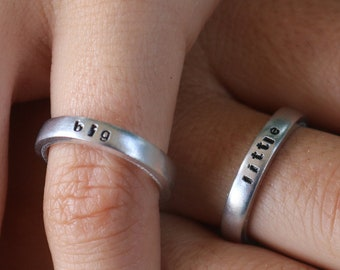 Big Sis Write inside your Names  Dates. Personalized Rings. Lil Sis Rings