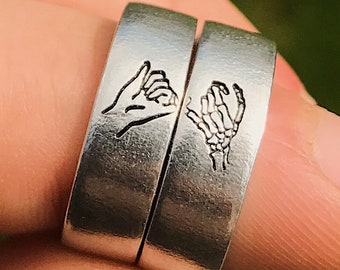 Couples or Sisters \u2022 Friendship jewelry Pinky Promise Rings for 2 \u2022 Personalized Gifts for Best Friends