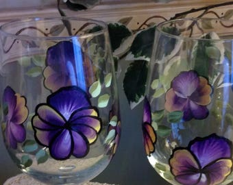 Set of Two -Purple Pansy Wine Glasses