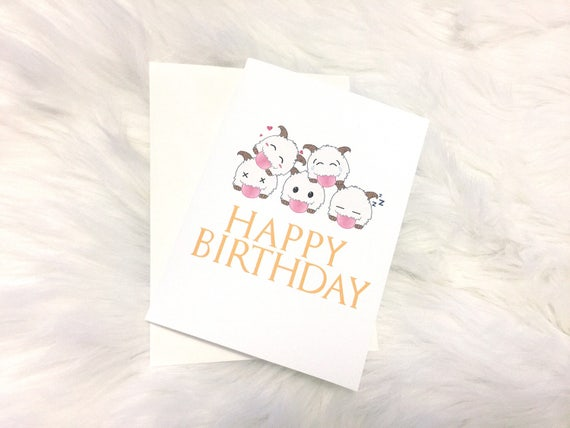 League Of Legends Poro Overload Birthday Blank Greeting Etsy