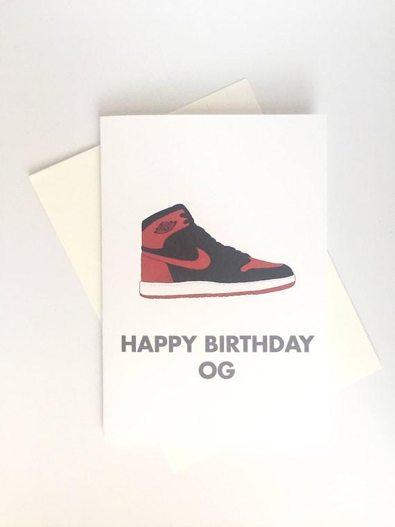 Sneaker Culture: Happy Birthday OG Air Jordan Banned 1 Bred (BirthdayBlank) greeting card
