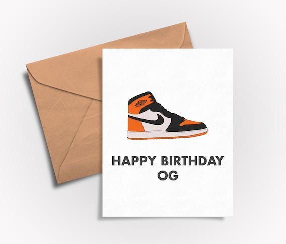 Sneaker Culture: Happy Birthday OG Air Jordan 1 Shattered Backboard (BirthdayBlank) greeting card