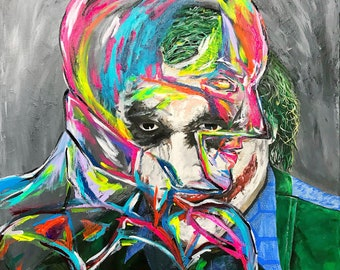 Painting by Heath Ledger/Joker, Christian Bale/Batman