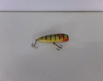 Paw Yellow Perch Minniow Wooden Fishing Lure 3 Long 1960s