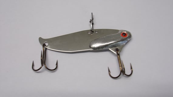 """The flash blade bait lead free bass fishing lure with nickel finish hand poured. size 2 1/2"""" x 3/4""""  1/2 ounce"""