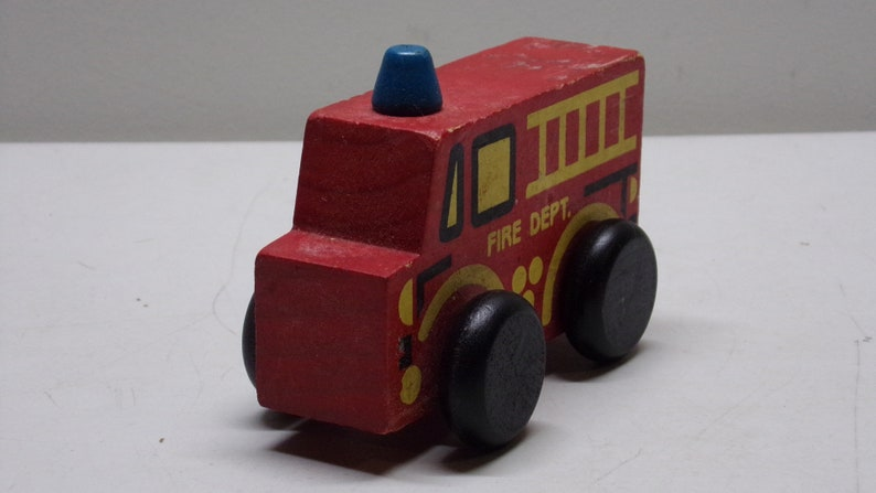 Wooden fire truck made in 1980s  wooden  toys