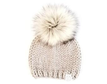 a208a72bf Fur pom pom hat | Etsy