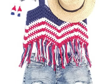 cd85c589bf Crochet Top   Crochet Tank Top   Crop Top   Summer Shirt   Red White and  Blue Shirt   4th of July Outfit   Summer Crop Top Cotton Crop Top
