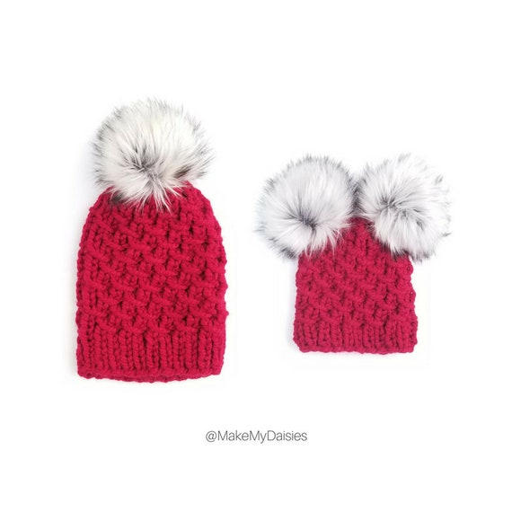 Mommy and Baby Hats Mommy and Me Hats Double Pom Pom  3108cf32db3