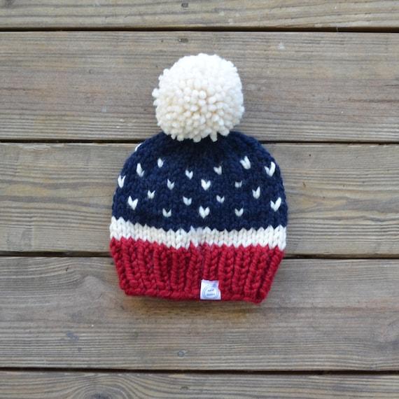 Fur Pom Pom Hat Pom Pom Beanie Red White and Blue Beanie  959bd84945