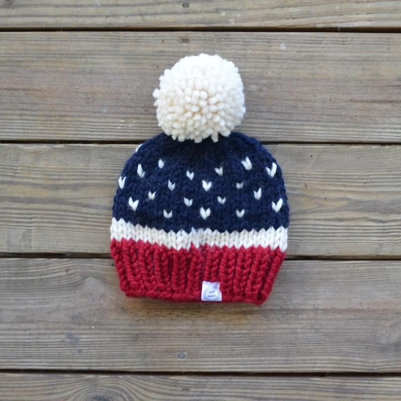 1d5caa91 Fur Pom Pom Hat, Pom Pom Beanie, Red White and Blue Beanie, Chunky Knit  Hat, Faux Fur Pom Pom Beanie, Women's Toque, Pom Pom Hat