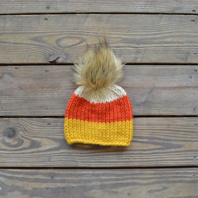 Fall Hats Fur Pom Pom Beanies Toddler Hats for Girls Gifts for Girls Baby Hats for Girls Baby Beanie Candy Corn Hat Children/'s Hats