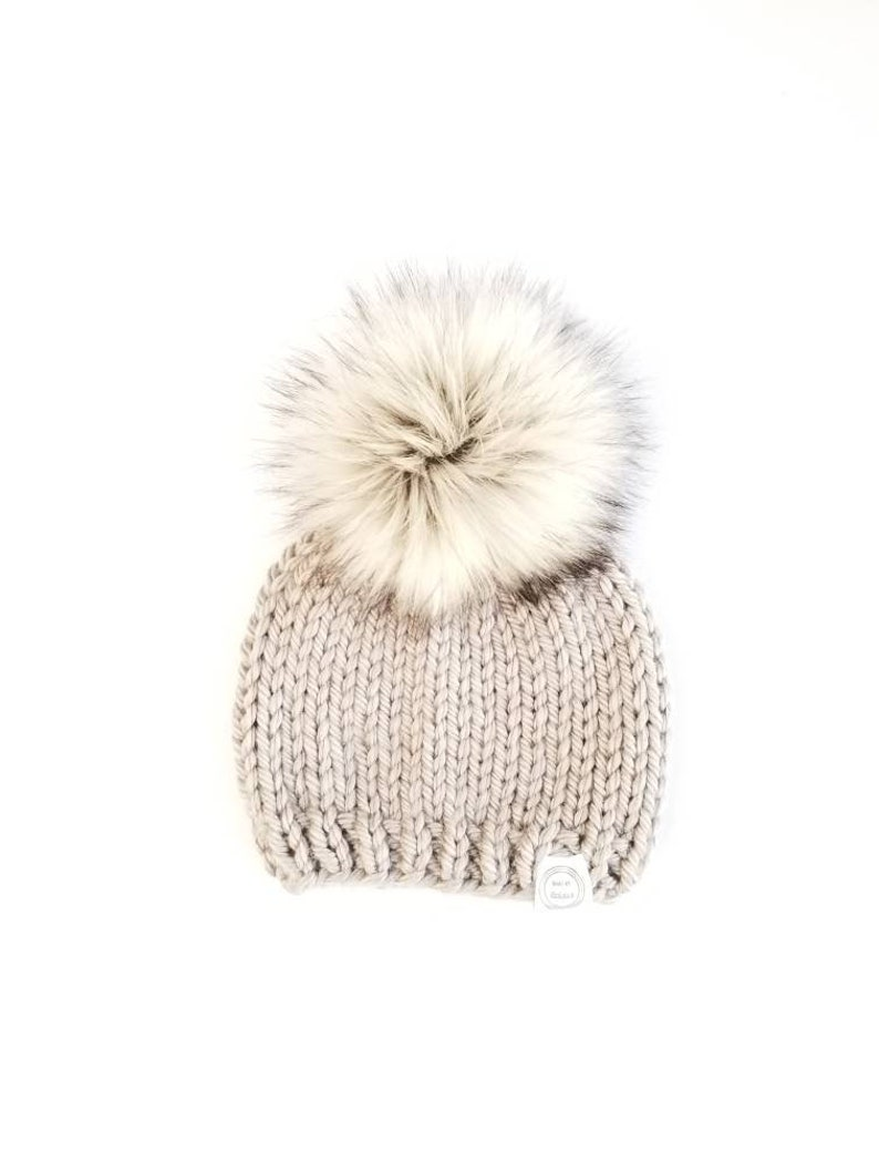25e89eae8bb Baby Fur Pom Pom Hat Fur Pom Pom Beanies Baby Shower Gift | Etsy