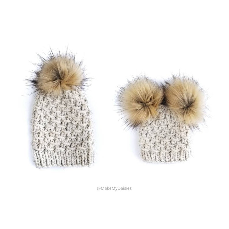 Mommy and Baby Hats Mommy and Me Hats Double Pom Pom  30cd3ca103c