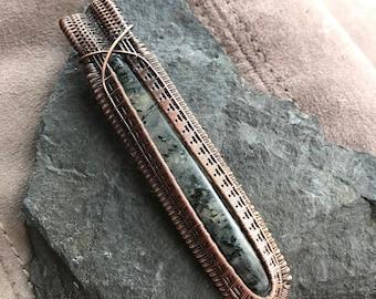 Black tourmaline in quartz bar pendant